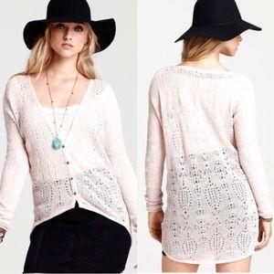 Free People New Romantics blush pink knit cardigan